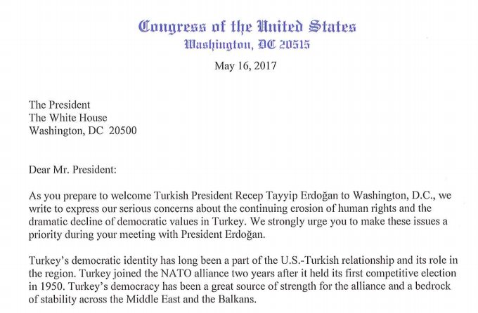 81 us lawmakers urge trump to press erdogan on rights the globe post the letter was sent to president trump on tuesday morning just hours before his meeting with mr erdogan representatives bradley s schneider and bill expocarfo