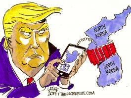 trump cartoon north korea