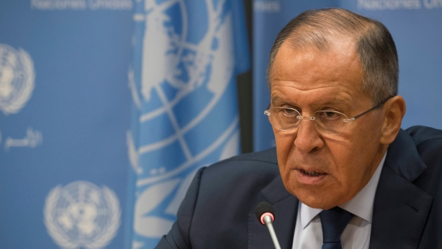 Russian Foreign Minister Sergey Lavrov speaks at the UN