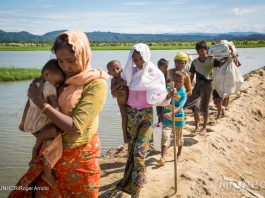 Rohingya refugees arrive at a UNHCR transit centre in Cox's Bazar, south-east Bangladesh on October 19 after spending four days stranded at the Myanmar border with some 6,800 other refugees.