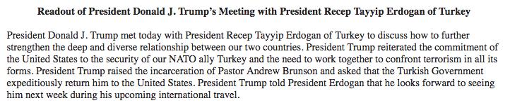 trump erdogan readout gulen andrew brunson zarrab