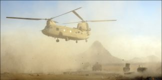A US Army Chinook helicopter on patrol in Kandahar province in Afghanistan