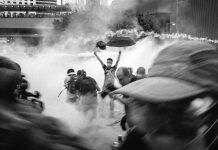 "Hong Kong ""Umbrella Movement"" demonstrators attacked with tear gas in 2014"