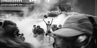 """Hong Kong """"Umbrella Movement"""" demonstrators attacked with tear gas in 2014"""