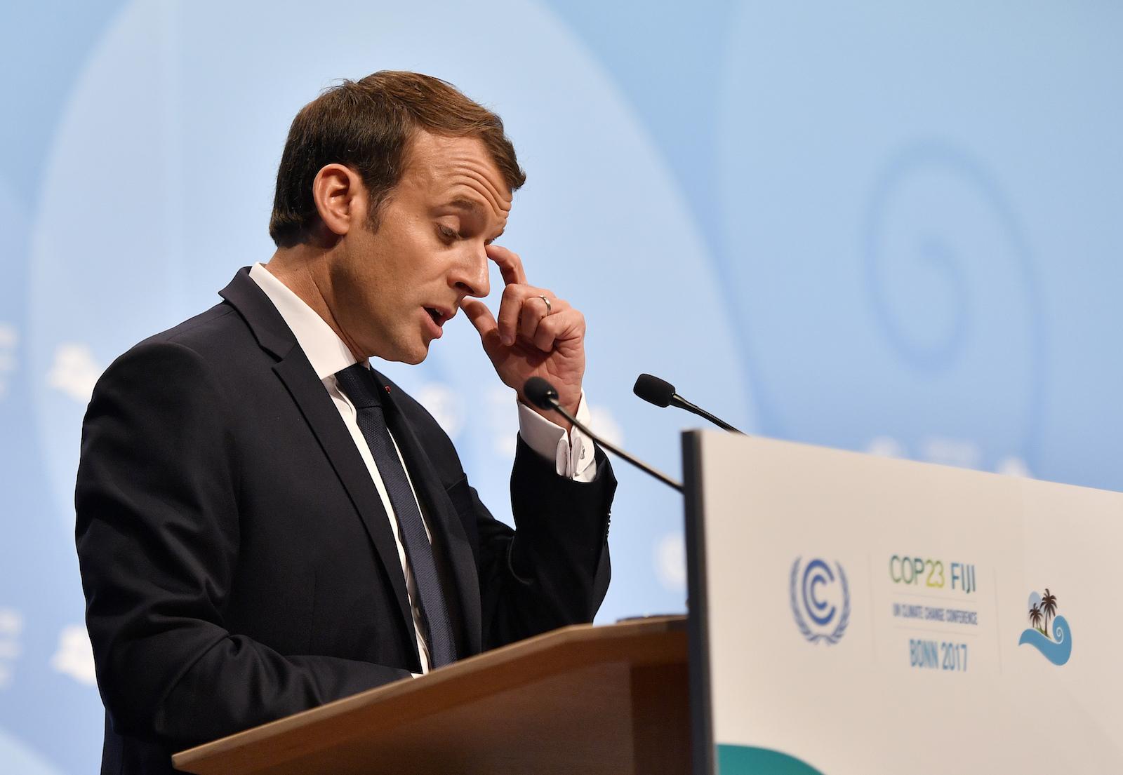 French President Emmanuel Macron spoke at the COP23 meeting in Bonn, Germany