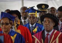 Zimbabwe president Robert Mugabe at a graduation in Harare