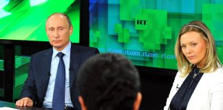 Russian President Vladimir Putin visited RT after its launch in 2013