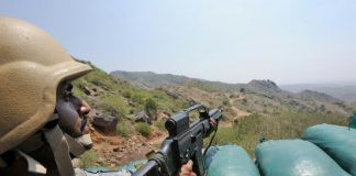 A soldier on the Saudi-Yemen border