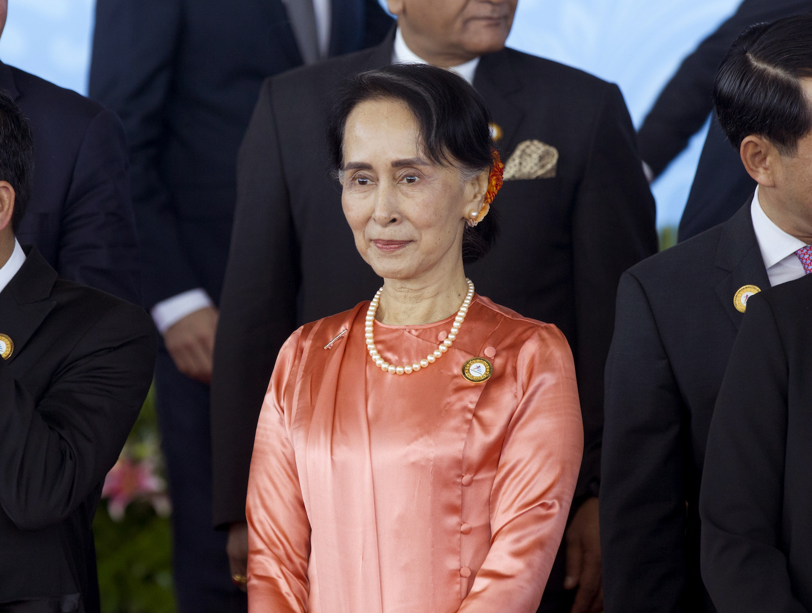 Myanmar leader Aung San Suu Kyi at a meeting of Asian and European foreign ministers in November 2017