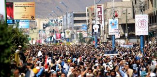 A demonstration in Yemen against the Saudi blockade of the country's ports and airports