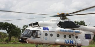 UN helicopter in South Sudan