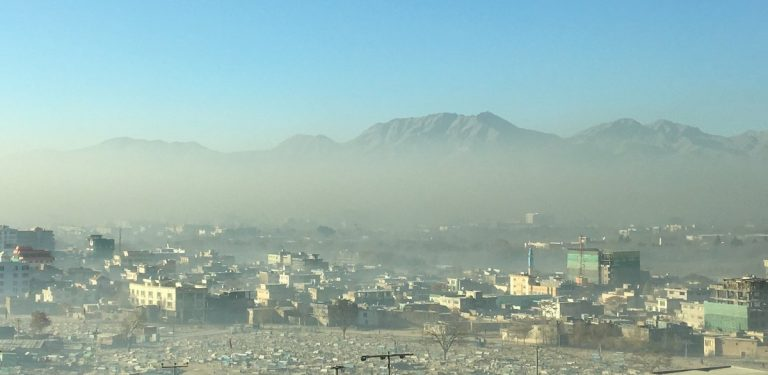 Smog over an Afghan city
