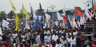 A protest in Kinshasa, Democratic Republic of Congo
