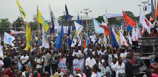 A protest in Kinshasa, Democratic Republic of Congo