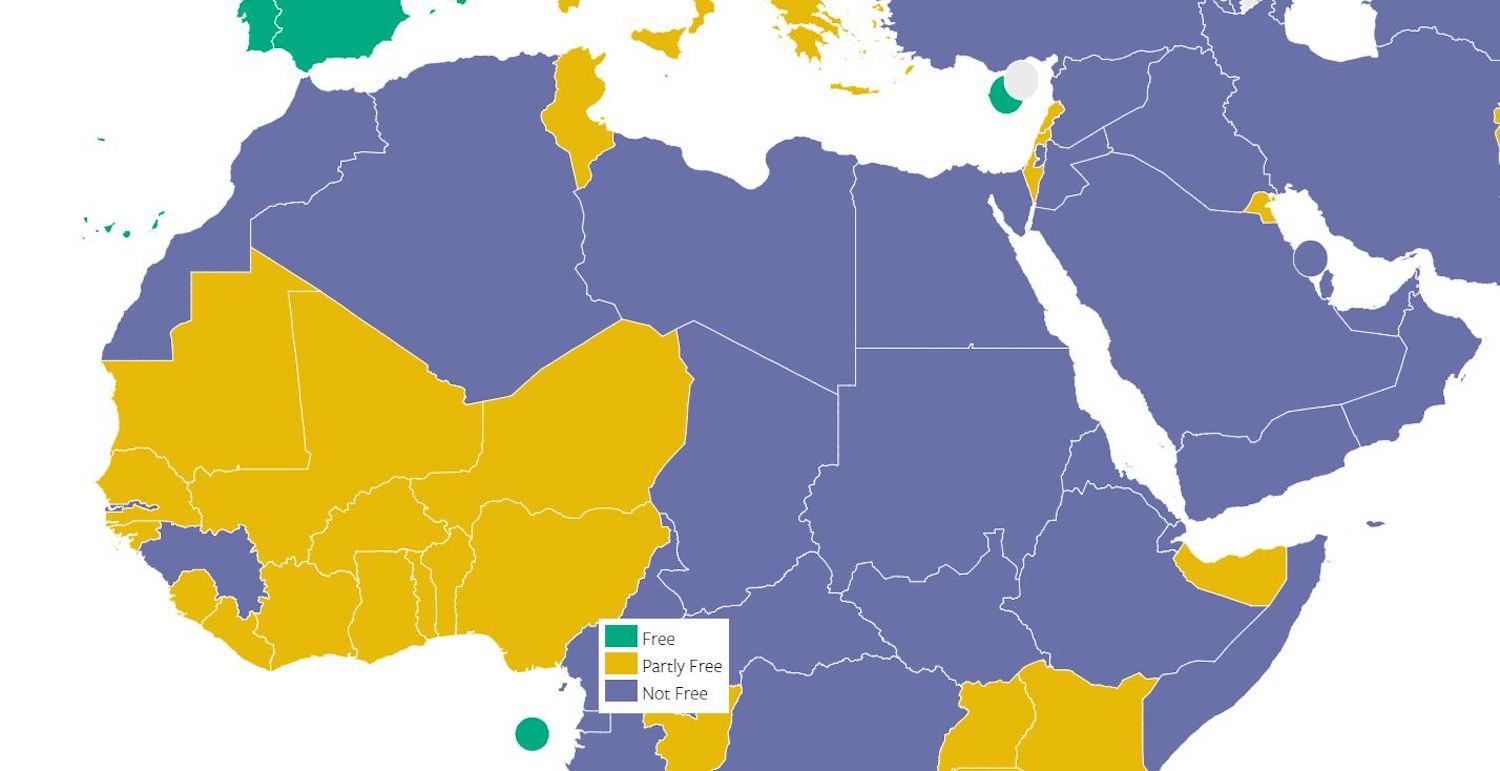 Freedom House said 4 Arab countries had partly free media and 17 were not free.