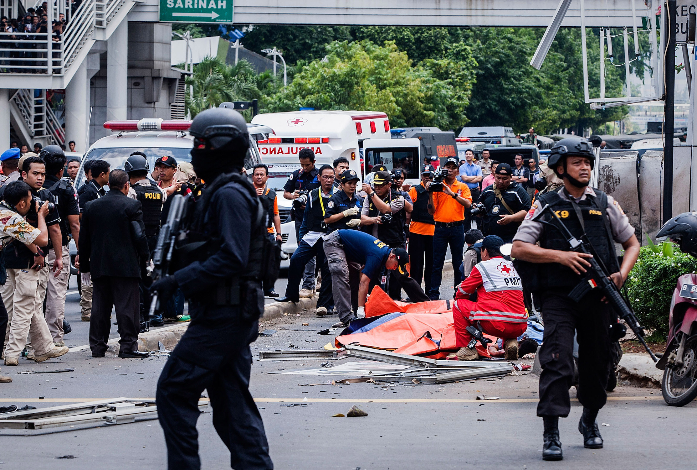 Police in Indonesia on guard after a terrorist attack in Jakarta
