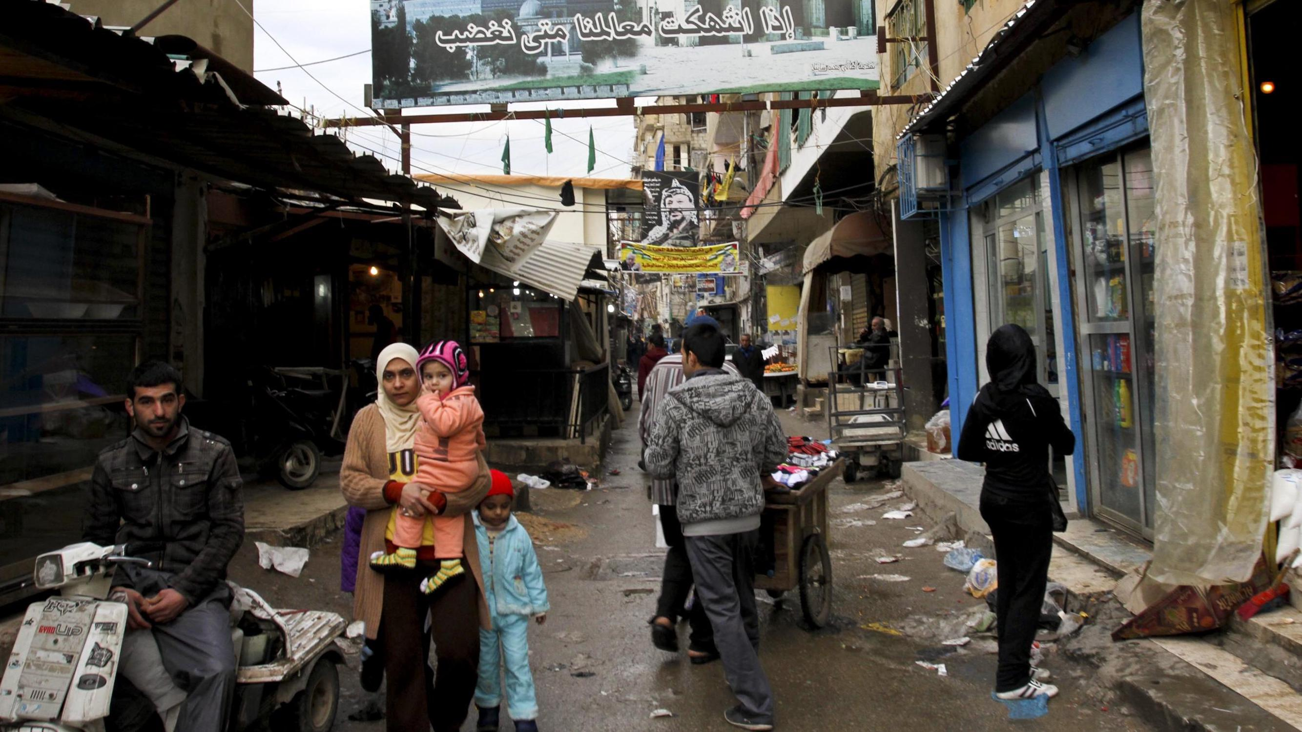 Palestinian refugees in Lebanon.