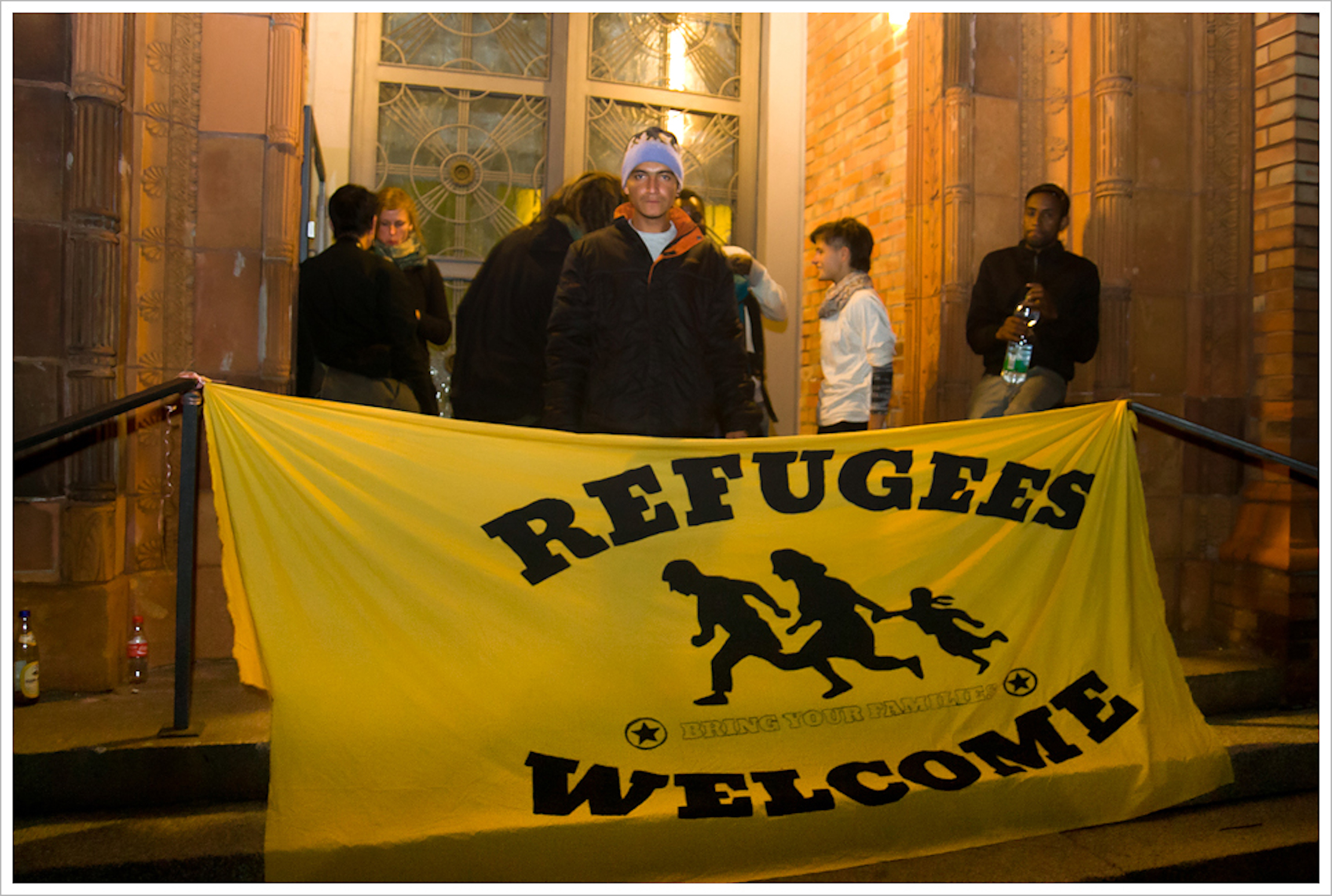 'Refugees Welcome' banner in Berlin, Germany