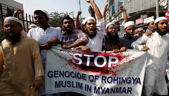 Protests in Dhaka, Bangladesh, march in support of the Rohingya that have been persecuted in neighboring Myanmar