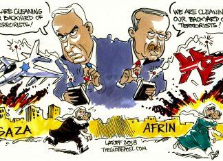 Carlos Latuff, Afrin, Syria, cartoon