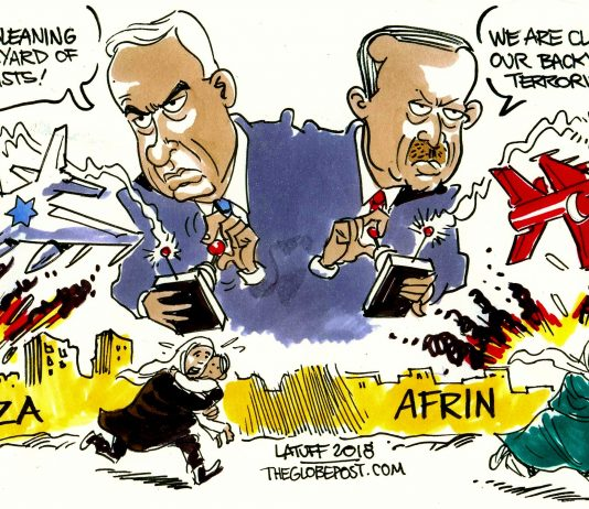 Carlos Latuff, Afrin, Syria, cartoon