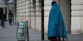 a homeless man in Paris