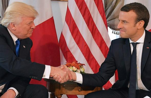 Emmanuel Macron Donald Trump handshake