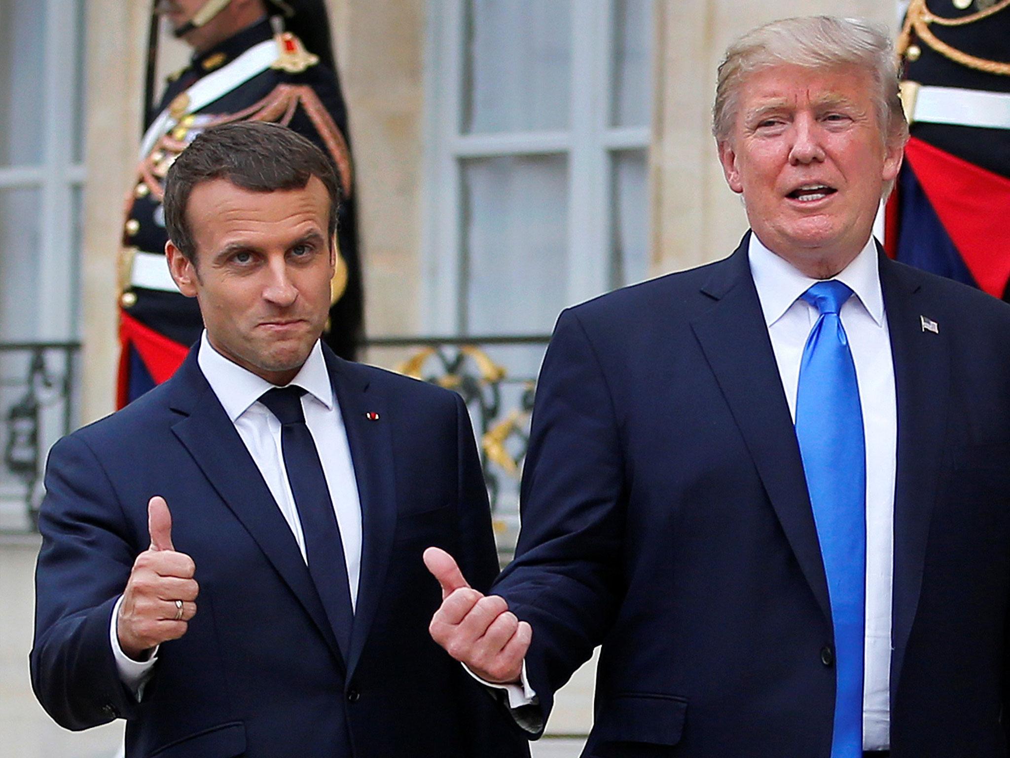 Donald Trump Emmanuel Macron handshake state dinner