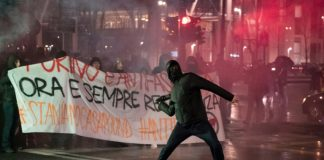 Protesters in Turin