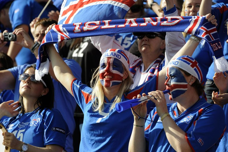 Fans of Iceland cheer during Uefa women'