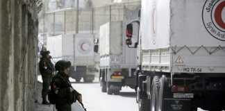 Syrian Arab Red Crescent aid trucks