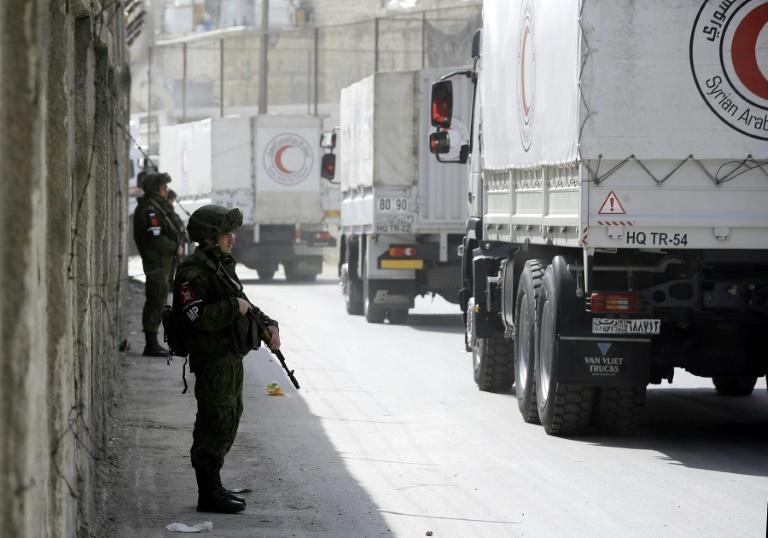 Syrian Arab Red Crescent aid trucks