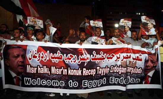 egypt cairo hero's welcome in airport for erdogan