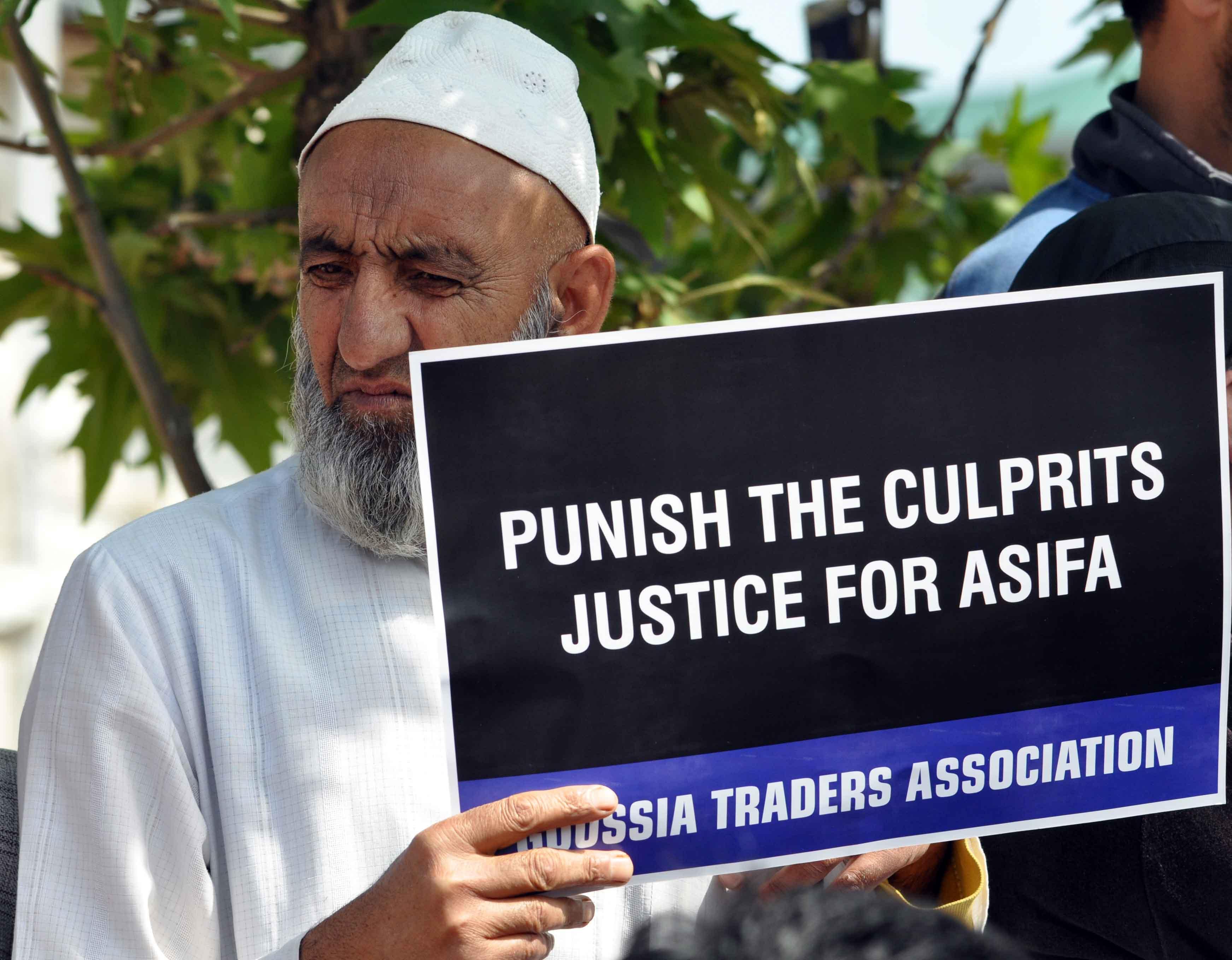 A protestor in Kashmir
