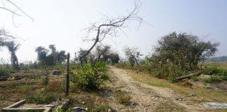 An abandoned Rohingya village