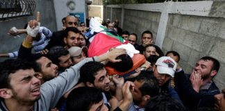 Funeral of Yasser Murtaja in Gaza