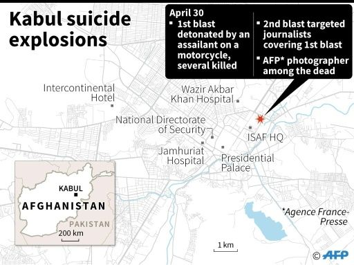 map of the Kabul bombing