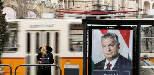 A poster of Orban's party at a tram stop in Hungary