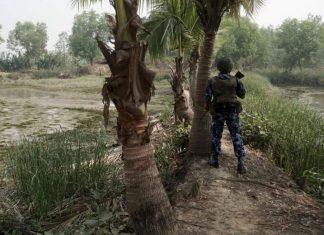 A Myanmar border guard