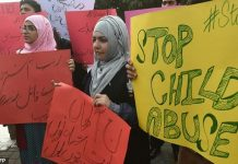Protesters against child abuse