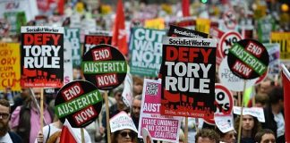 A rally against the austerity measures in the UK