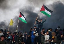 Protesters in Gaza waving Palestinian flags