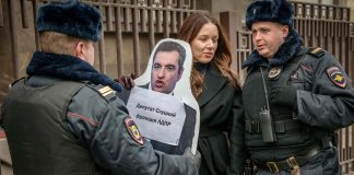 A protester against sexual violence in Russia