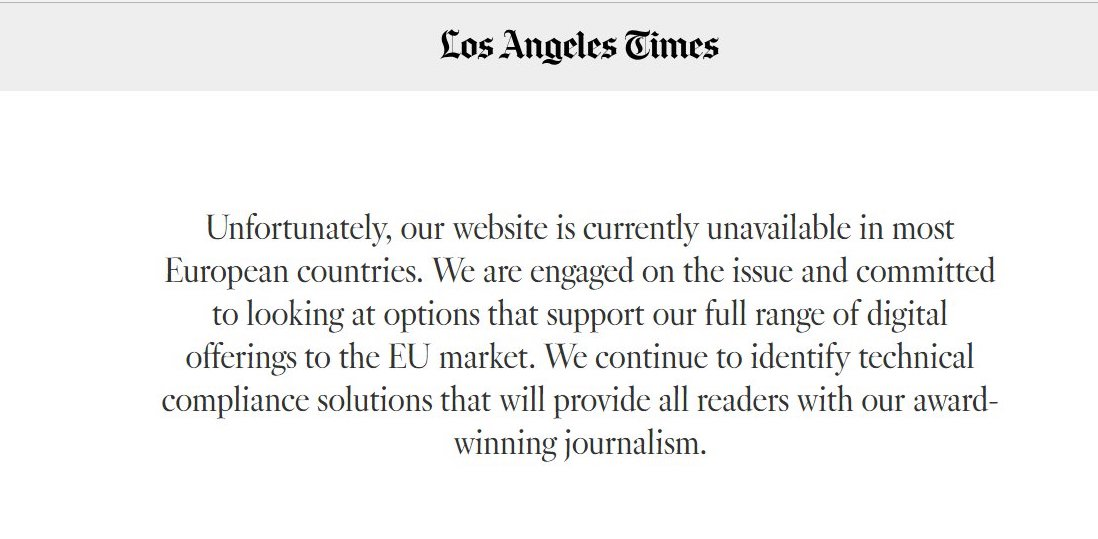 Los Angeles Times has been blocked in EU
