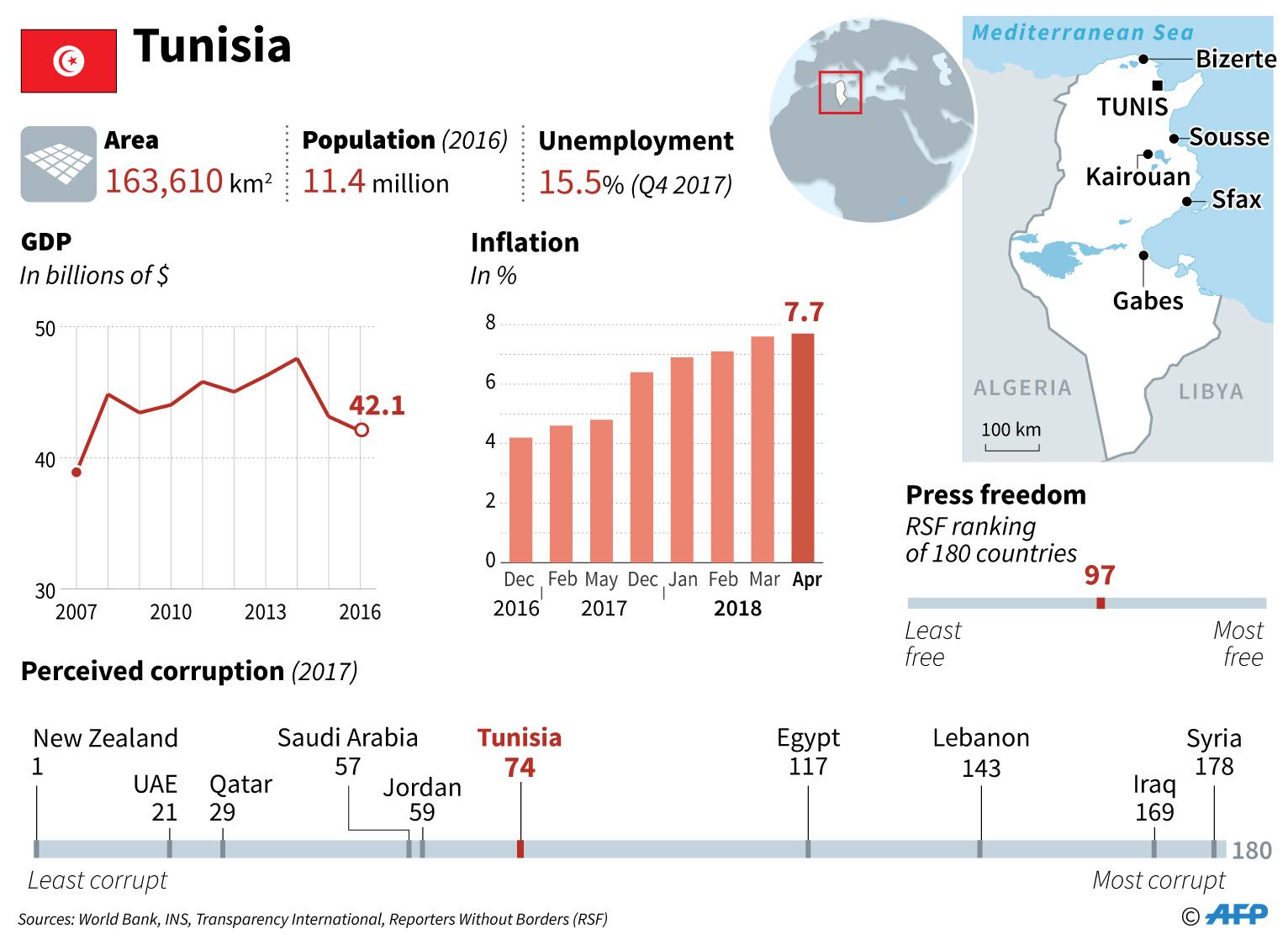tunisia factfile infographics unemployment press freedom economy