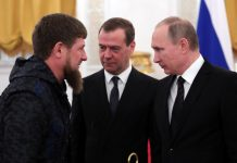 Kadyrov, Medvedev and Putin at the Kremlin