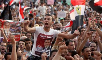 Group of supporters of the Muslim Brotherhood in Egypt