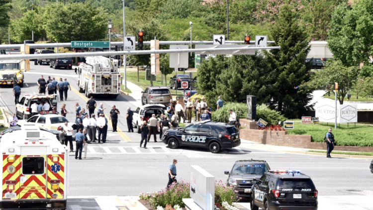 Police cars at the scene of shooting in Maryland