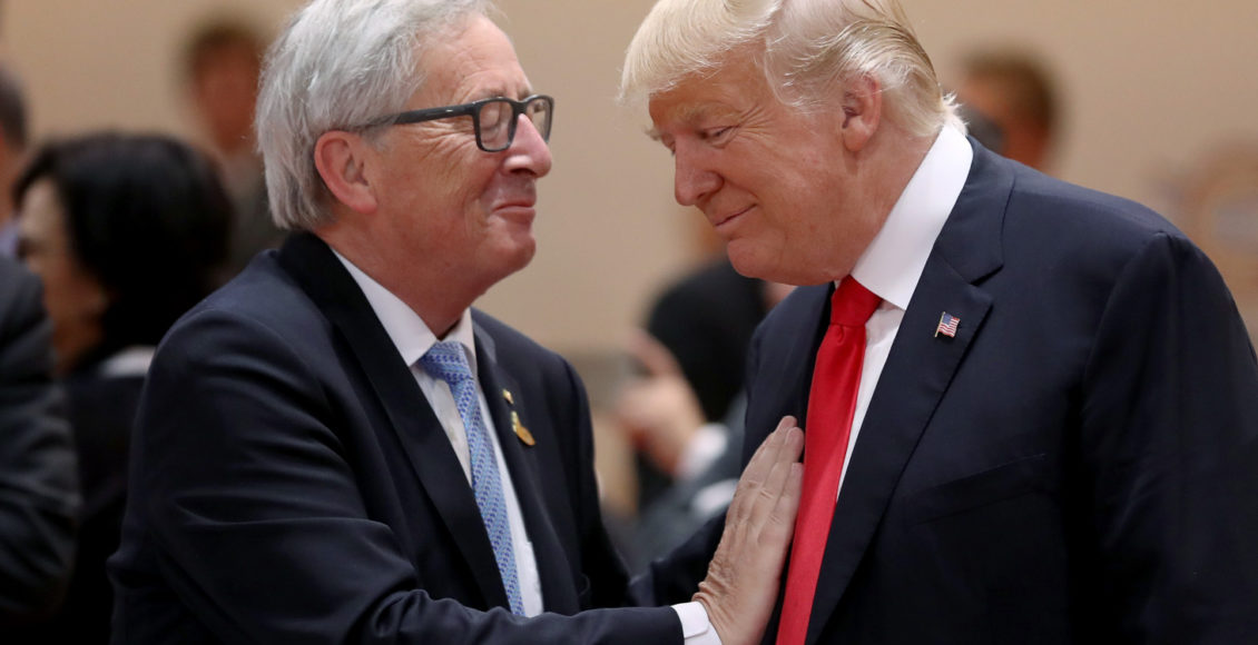 US President Donald Trump and President of the European Commission Jean-Claude Juncker at a G20 economic summit on July 8, 2017 in Hamburg, Germany.