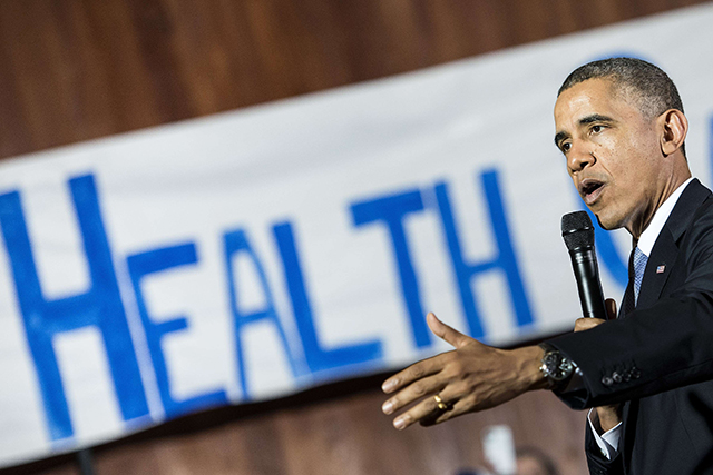 Former US President Barack Obama speaking about the Affordable Care Act (Obamacare) in Texas, 2013.